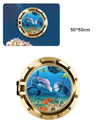 dolphin home decor beautiful ocean dolphin 3d effects window wall stickers for kids