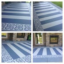 Tiling A Concrete Patio by Painted Patio With Patio U0026 Concrete Paint Blue Tape And A