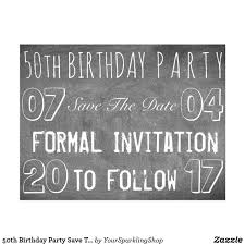 50th birthday party savethedate chalkboard look postcard