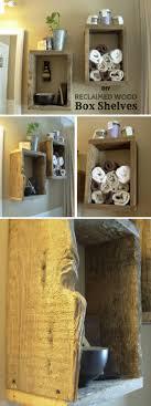 easy to build diy reclaimed wood box shelves for rustic bathroom decor