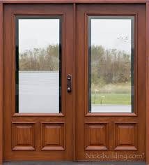 Interior Doors With Blinds Between Glass Exterior Double Doors Solid Mahogany Wood Double Doors