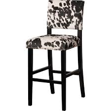 linon bs041cow01u clayton black cow print fabric bar stool