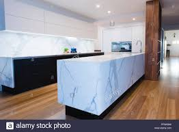 white kitchen cupboards black bench black and white designer contemporary open plan kitchen with