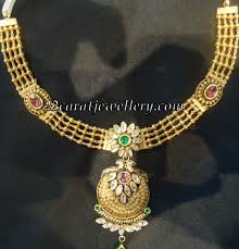 antique gold necklace images Antique gold necklaces with kundans jewellery designs jpg