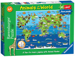 Animal World Map by Ravensburger 7072 Animals Of The World Giant Floor Jigsaw Puzzle