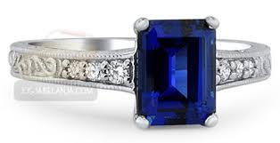 model cincin blue safir cincin kawin lindsay palladium dengan batu blue safir cincin