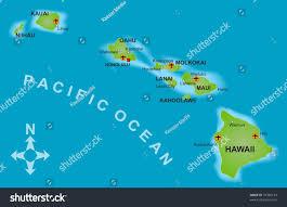Hawaii Island Map Stylized Map Island Hawaii All Adjacent Stock Illustration