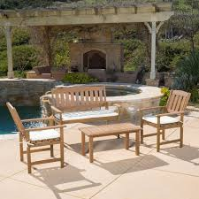 Wooden Bench With Cushion Charlton Home Carson Wood 4 Piece Bench Seating Group With Cushion