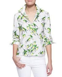 bird blouse carolina herrera birds printed button blouse