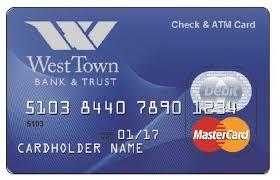 debit card personal credit debit cards west town bank trust