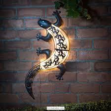 solar light gecko wall art outdoor led furniture pinterest
