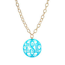 personalized monogram necklace moon and lola acrylic rimmed script monogram necklace on