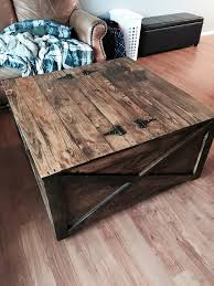 Diy Storage Ottoman Coffee Table Pallet Coffee Table With Secret Stash 101 Pallet Ideas Part 2