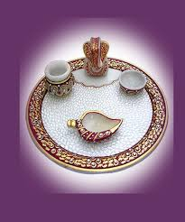 girnar crafts offers marble pooja thali made with high grade