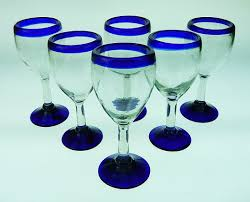 amazon com mexican glass wine hand blown blue rim set of 6
