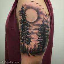 work in progress black and grey forest nature trees moon