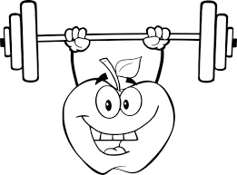 apple cartoon character lifting weights coloring free