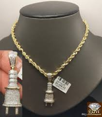 golden rope necklace images Wholesale men 39 s 10k yellow gold 0 53ct diamond plug charm pendent jpg