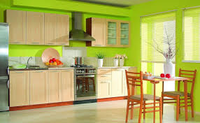 lime green kitchen design with white tile and ceramic floor