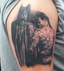 scarred brutal batman tattoo based on painting geekologie