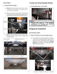 jeep cherokee rear bumper prepare to install kit comp cut u201d rear quarter panels or fab