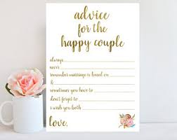 Advice Cards For The Bride And Groom Bridal Shower Advice Etsy