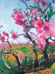 peach blossom 2 modern painting in oil for sale