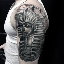 king tut with the great pyramids mens half sleeve tattoos tattoo