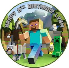 minecraft cake topper edible minecraft cake topper wafer paper 19cm