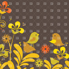 Cute Plant by Drawing Of A Cute Cartoon Birds On Stylized Flowering Plants