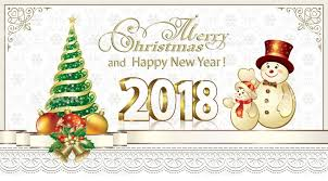 Happy New Year Decoration Vector by 2018 Greeting Card With Christmas Tree And New Year Decorations