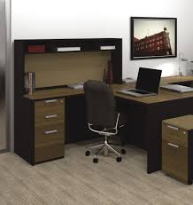 modern l shaped desk with black and brown furnishing color also