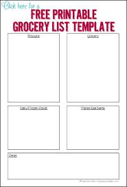 doc 431560 grocery list template u2013 free printable grocery list