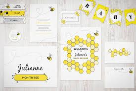 bee themed printable invitation suite for baby showers and parties
