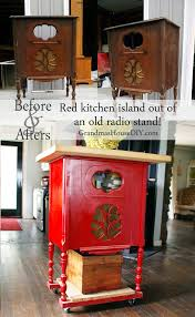 red kitchen islands a radio stand converted into a red kitchen island