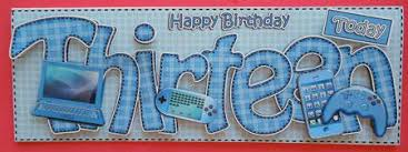 13th birthday large dl quick card n 3d decoupage cup401106 359