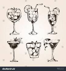 vintage cocktail set cocktail set elements graphic design menu stock vector 453241000