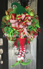 Large Christmas Elf Decorations by Poinsettia Christmas Wreath Holiday Wreath Christmas Door Hanger