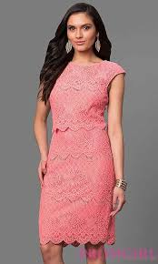 trends 2016 2017 coral lace knee length party dress with cap