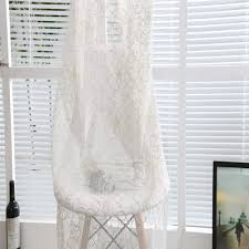 2015 new home fashion hanging embroidered white sheer curtains