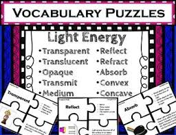 Light Energy Facts Light Energy Vocabulary Puzzles Vocabulary Words