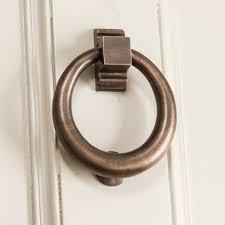distressed antique brass hoop door knocker