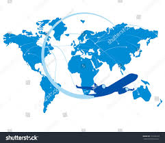 Jet Blue Route Map Blue Jet Airplane Silhouette Map World Stock Vector 710329120