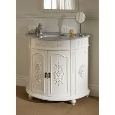 half cylinder vanity with storage and carving pattern on it