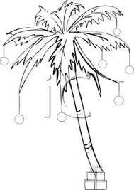 and white of a palm tree decorated in ornaments