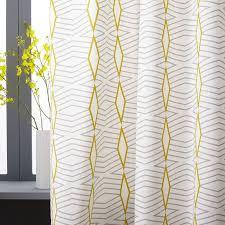 Yellow Striped Curtains Cotton Canvas Diamond Stripe Curtains Set Of 2 Platinum West Elm