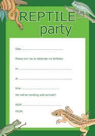 reptile a5 birthday party invites