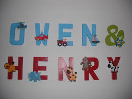nursery letters paper mache letters painted with wooden character