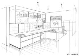 perspective cuisine croquis perspective cuisine contemporaine stock photo and royalty