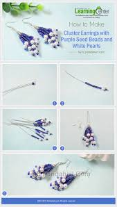 how to make cluster earrings with purple seed beads and white